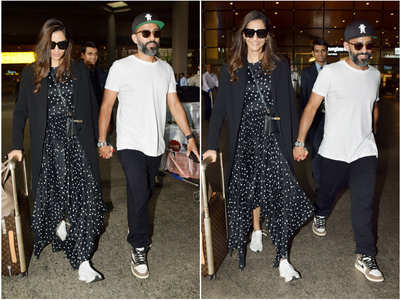 Sonam-Anand walk hand-in-hand at the airport