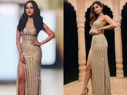 Sonakshi and Khushi wore the same thigh-high slit gown