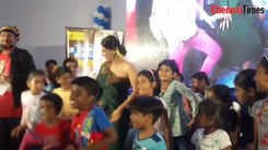 Yashika Aannand dances with children at an event in Coimbatore