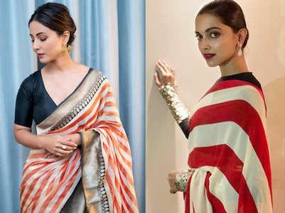 Hina Khan's striped sari will remind you of Deepika's Sabyasachi sari!