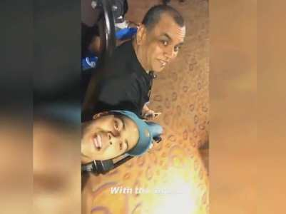 Varun's fun ride with Paresh Rawal at airport