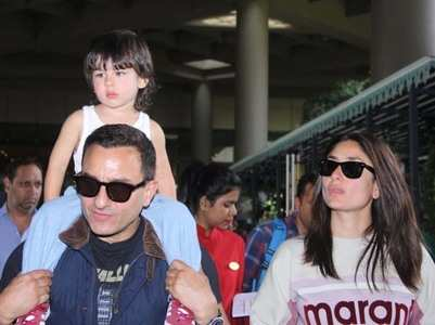 Saif, Kareena, Taimur papped at the airport
