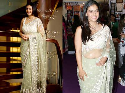 Kajol's stuns in this sheer pista green sari