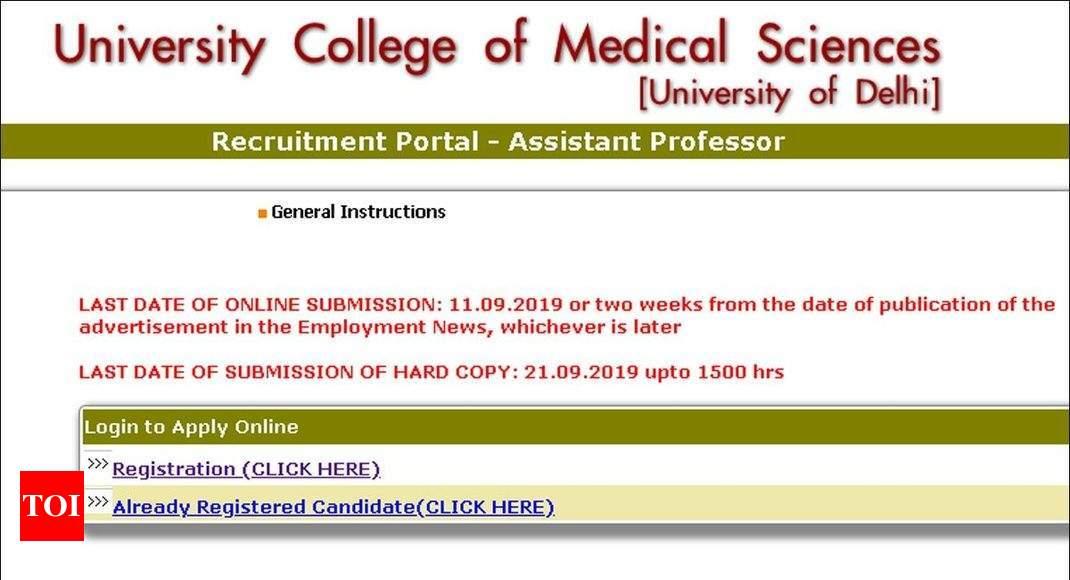 UCMS Delhi Assistant Professor Recruitment 2019 Apply Online For 91
