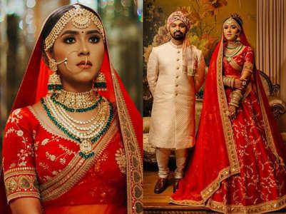 Bride's RED Sabyasachi lehenga for her Nikah