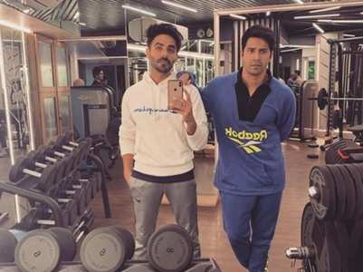 Varun and Aparshakti strike a pose at a gym