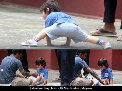 Pics: Taimur tries his hand at yoga