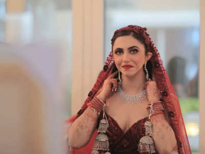 This bride ditched the lehenga for a red gown for her wedding!