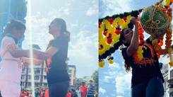 Actress Rupali Bhosale breaks handi at Sankalp Pratisthan's Dahi Handi celebration