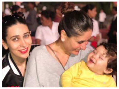 Karisma-Kareena visit mother with Taimur
