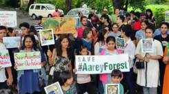 'Save The Trees' cry Mumbai kids during the protest for cutting trees at Aarey