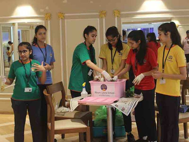 Students of Mount Litera School International during a workshop for a DIY compost kit for Ganesh Chaturthi
