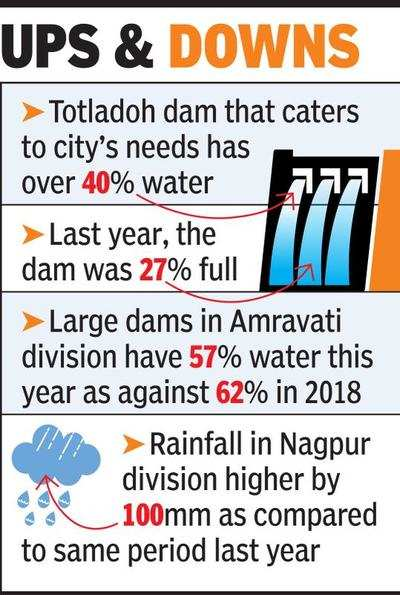 Water level in dams goes above last year | Nagpur News
