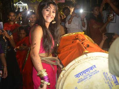 Shivangi beats dhol during Ganpati Utsav