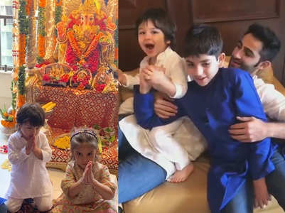 Watch: Taimur cheering 'Mangal Murti Morya'