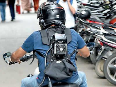 Image result for bengaluru techie ac helmet