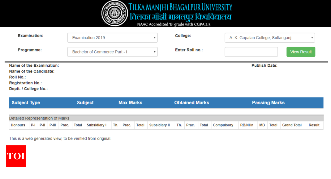 TMBU result 2019 released for honours programs @tmbuniv.ac.in, here's direct link