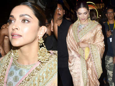 Deepika channels her inner Rekha in a silk sari