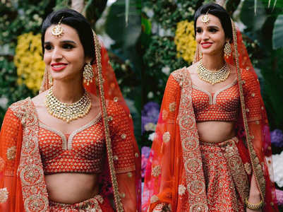 This bride's orange lehenga is just as good as red!