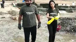 Watch: Actress Amrita Rao takes part in beach clean-up