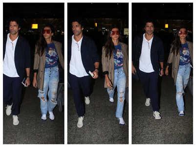 Photos: Farhan and Shibani at the airport