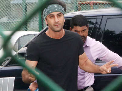 Ranbir plays football with pals on rainy day
