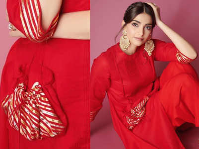Sonam Kapoor wore a kurta with stitched potli bag