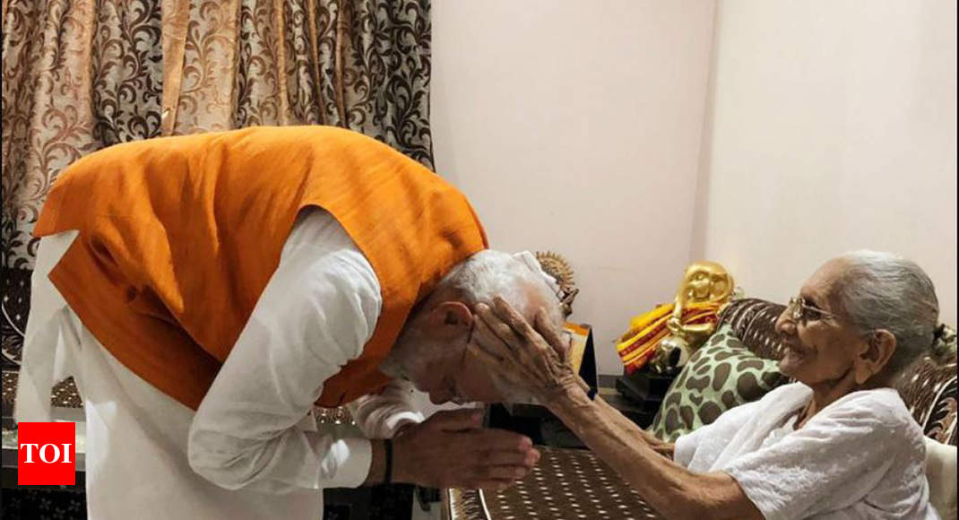 PM Modi meets mother Heeraben in Gandhinagar on his 69th birthday