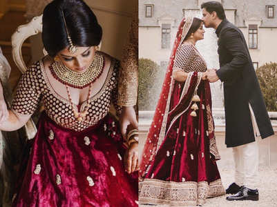 This bride's velvet lehenga is perfect for winter wedding