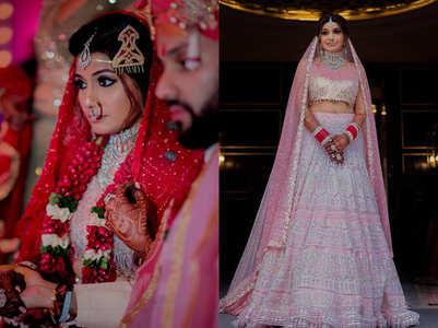 This bride wore a bandhani dupatta with her pink lehenga