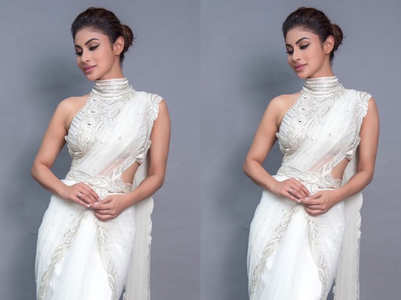 You can't miss Mouni Roy's modern sari look!