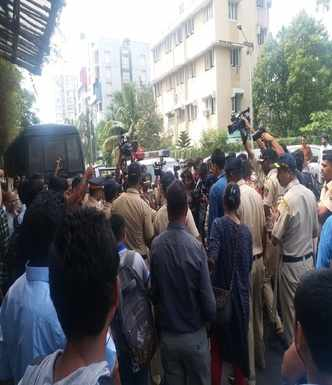 People protesting outside Bachchan's bungalow detained