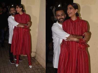 Cute pics of Anand Ahuja hugging Sonam Kapoor