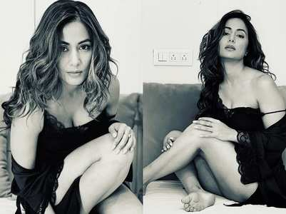 Hina Khan sports night wear with messy curls
