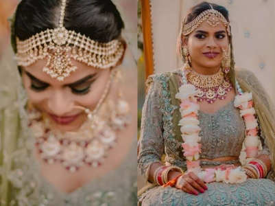 This bride's sea green lehenga is so refreshing