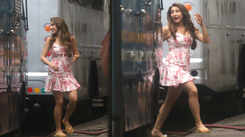 Sara Ali Khan looks pretty in pink on sets of 'Coolie No. 1'