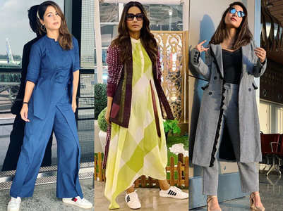 Hina Khan's stylish airport looks; in pics