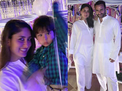 Taimur poses with Bebo's at her birthday bash