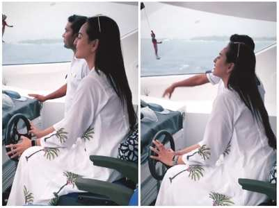 VIDEO: Sonakshi drives a yacht in Maldives