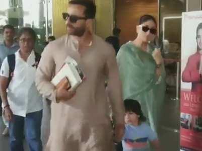 Watch: Saif, Bebo and Tim back in Mumbai