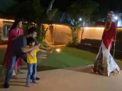 Shilpa's son Vihaan burns an effigy of Raavan!