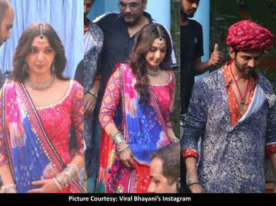 Pics: Kartik & Kiara turn desi on the sets