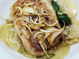 Red Snapper with Lemon Garlic on Spinach Bed