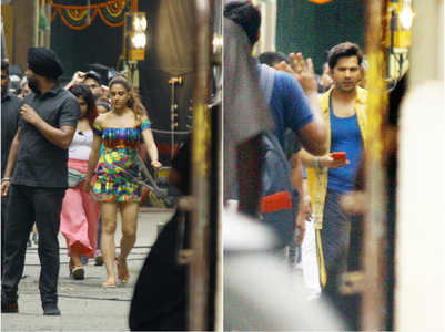 Varun & Sara spotted on the sets