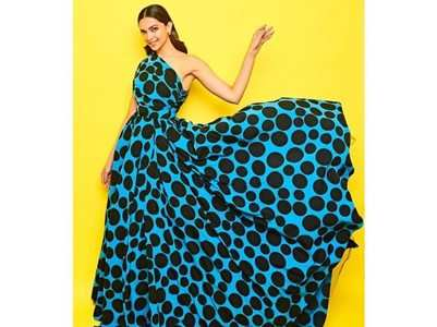 Deepika slays in this blue polka dot dress