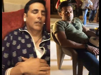 Watch: Akki-Bobby asleep on Housefull 4 sets