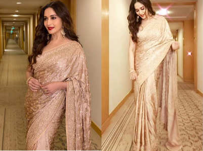 Madhuri Dixit's rose gold sari is so dreamy every bride would want to own it