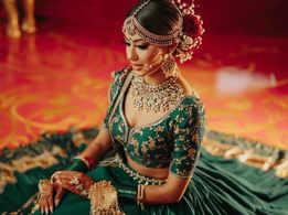 This bride wore a dark green lehenga for her wedding!