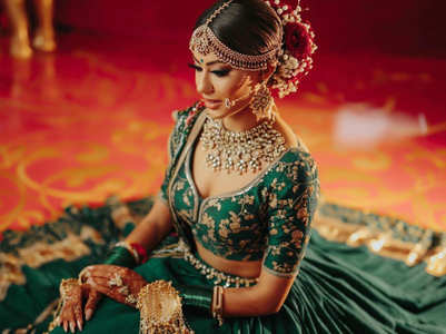 This bride wore a dark green minimalistic lehenga for her wedding!