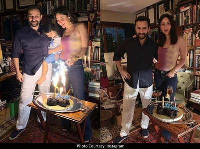 Celebration time! Bebo, Saif pose with Tim